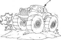Машинка на больших колесах Раскрашивать раскраски для мальчиков