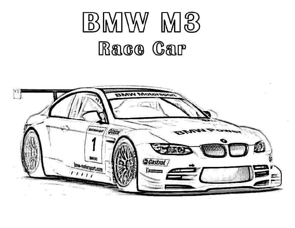 Bmw M3 Race Car бмв гоночное авто раскраски для мальчиков