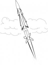 Боевая ракета в небе Раскрашивать раскраски для мальчиков