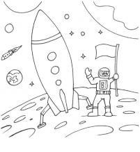 Ракета и космонавт Раскраски для детей мальчиков