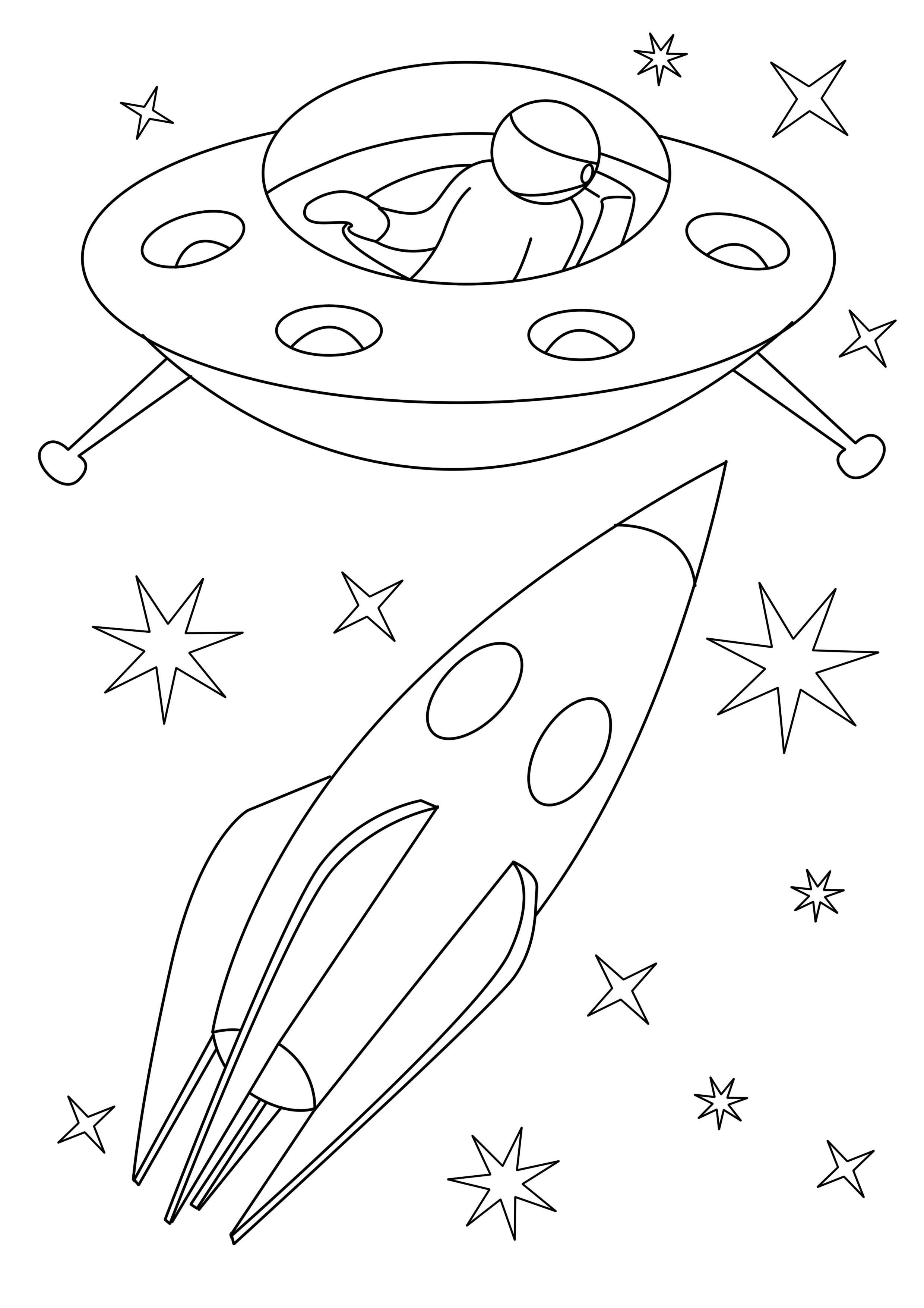 Ракета и инопланетяне Раскраски для детей мальчиков