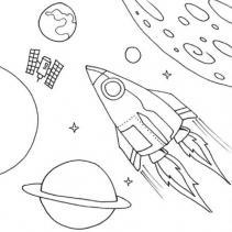 Ракета и космическая станция Раскраски для детей мальчиков