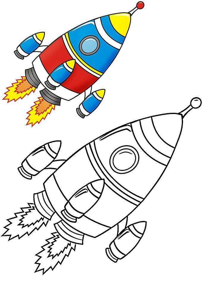 Раскрась ракету Раскраски для детей мальчиков