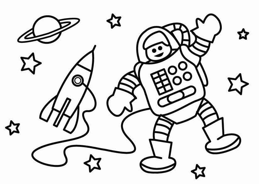 Ракета с космонавтом Раскраски для детей мальчиков