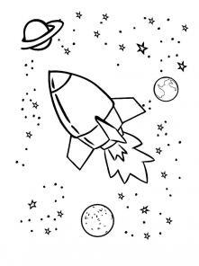 Ракета в космосе раскраска Раскрашивать раскраски для мальчиков