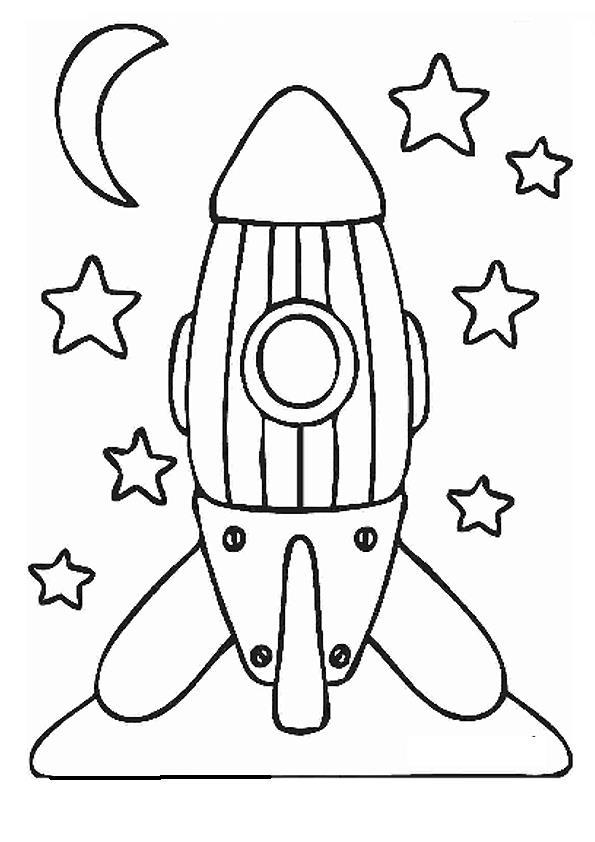 Забавная ракета ракета звезды луна Раскраски для детей ...