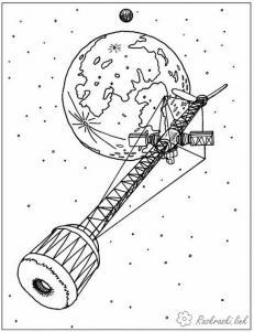 Большая космическая станция Раскрашивать раскраски для мальчиков