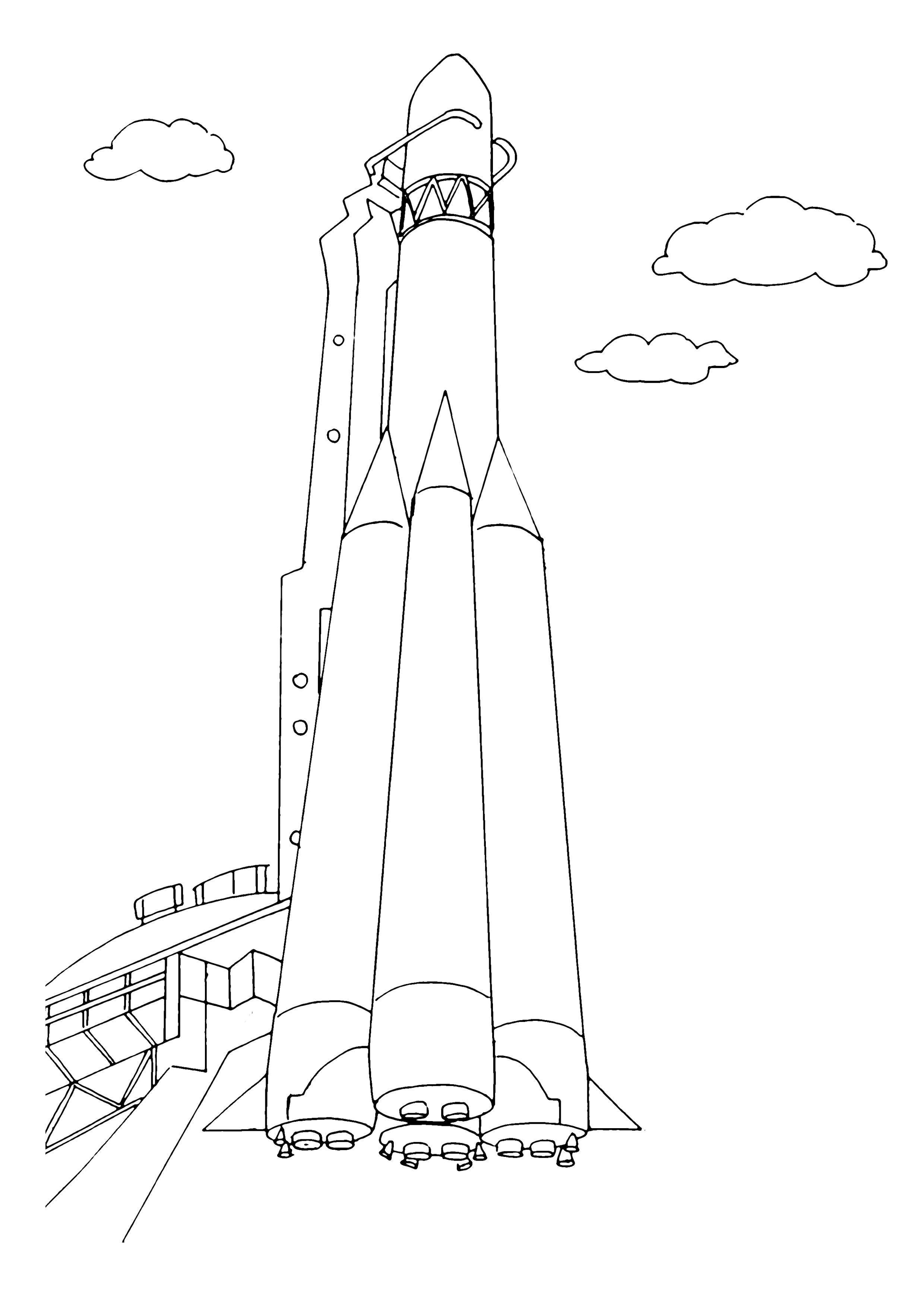Ракета стоит в готовности ракета станция облака небо ...