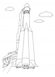 Ракета стоит в готовности Раскрашивать раскраски для мальчиков