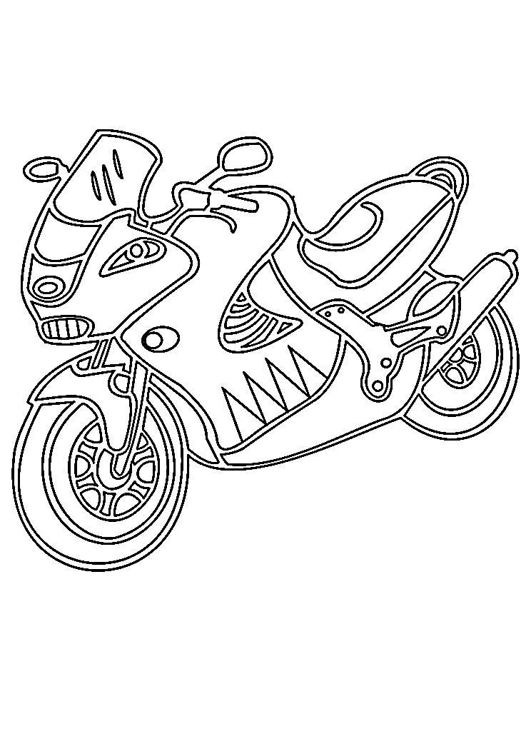 Красивый мотоцикл Распечатать раскраски для мальчиков