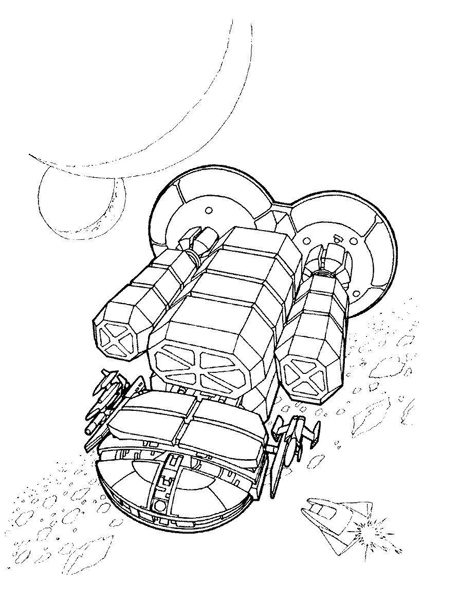 Космические корабли в просторах космоса Раскраски для мальчиков