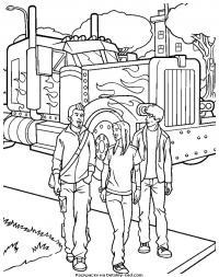 Грузовик и трое друзей Раскраски для мальчиков