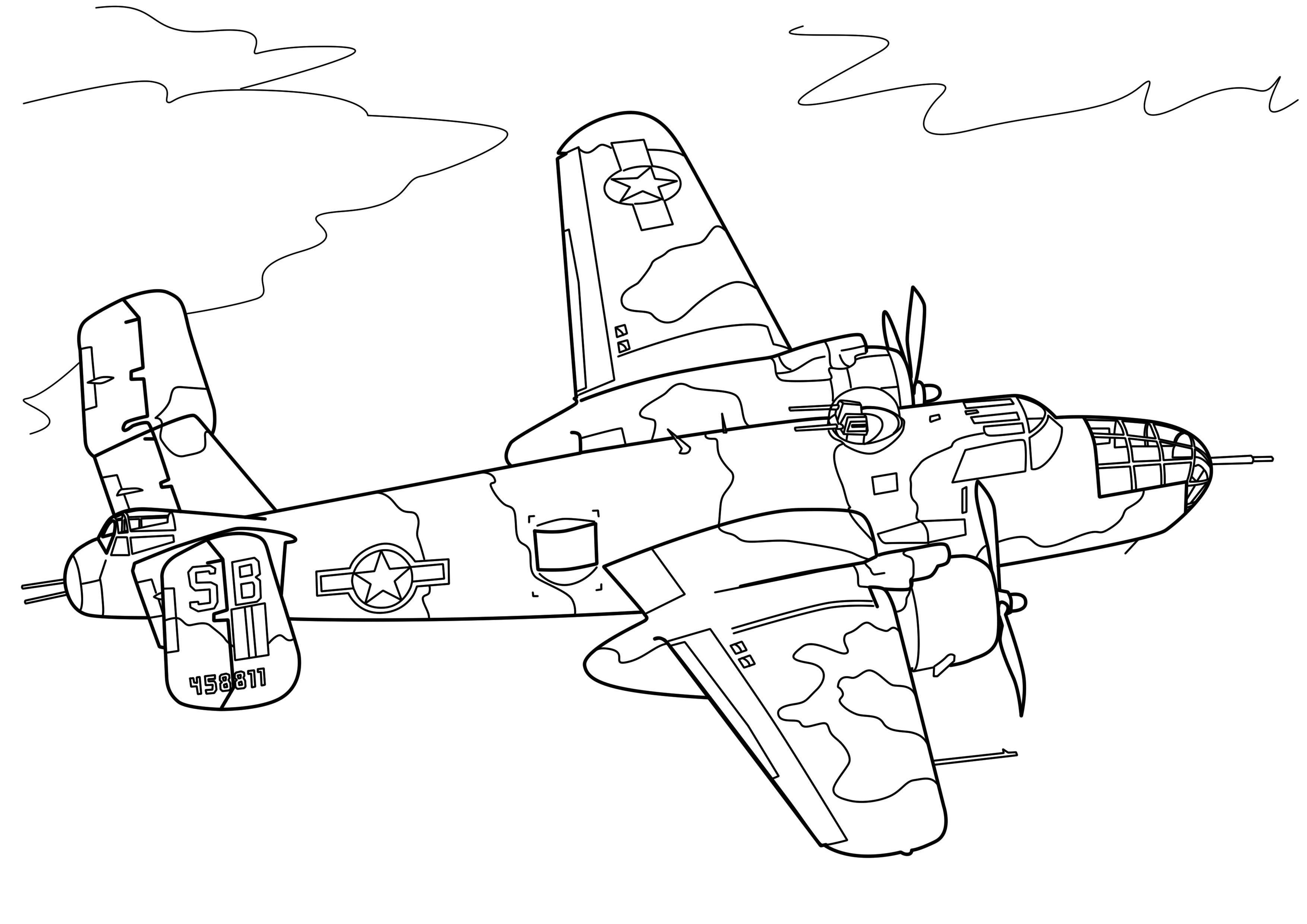 Американский бомбардировщик Раскраски для детей мальчиков