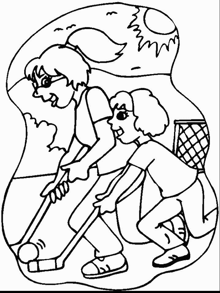 Мама с дочкой играют в хоккей Скачать раскраски для мальчиков