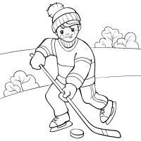 Юный хоккеист на льду Скачать раскраски для мальчиков