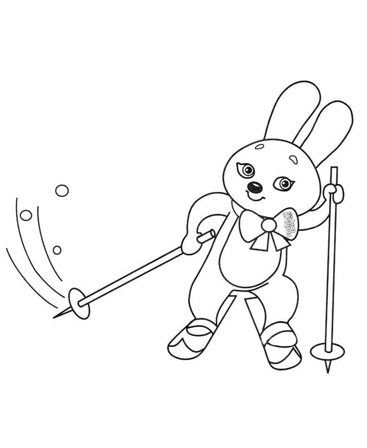 Заяц на лыжах Скачать раскраски для мальчиков
