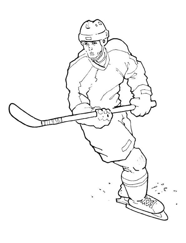 Хоккеист играет в хоккей Раскрашивать раскраски для мальчиков