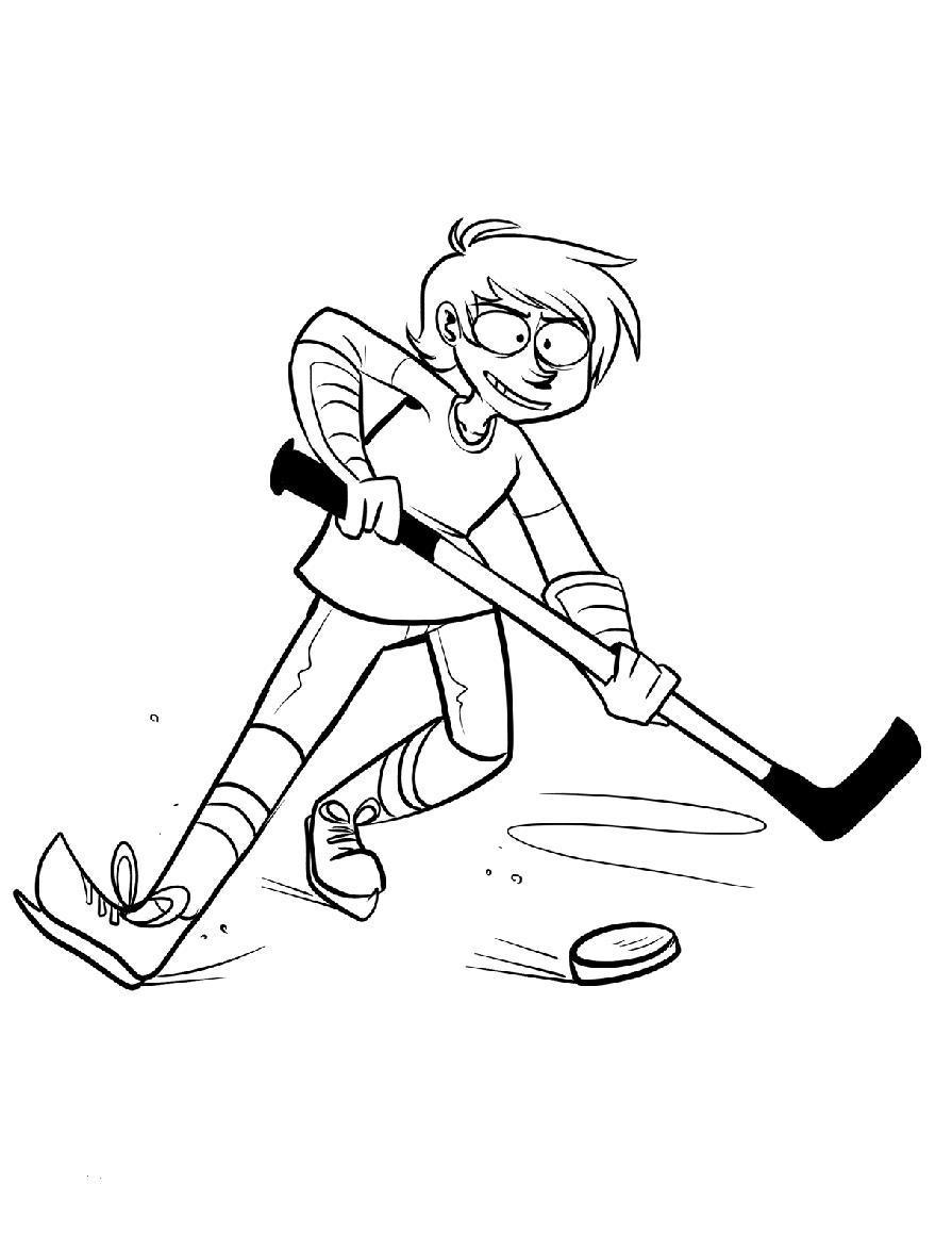 Хоккеист с клюшкой ведет шайбу Скачать раскраски для мальчиков