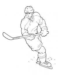 Хоккеист играет в хоккей Скачать раскраски для мальчиков