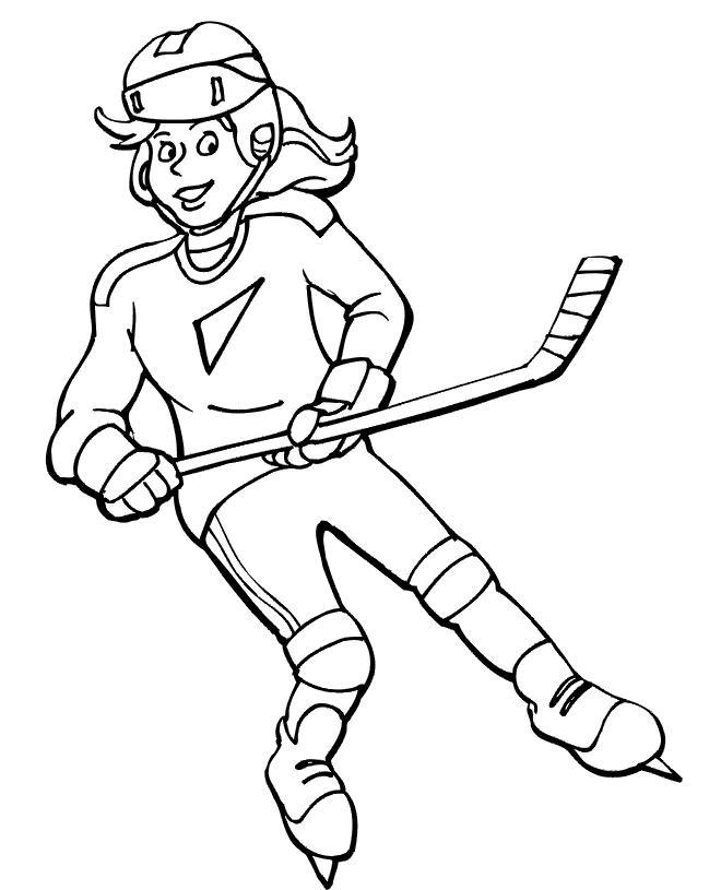 Хоккеистка Скачать раскраски для мальчиков