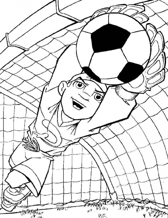 Вратарь ловит мяч вратарь сетка Раскраски для мальчиков