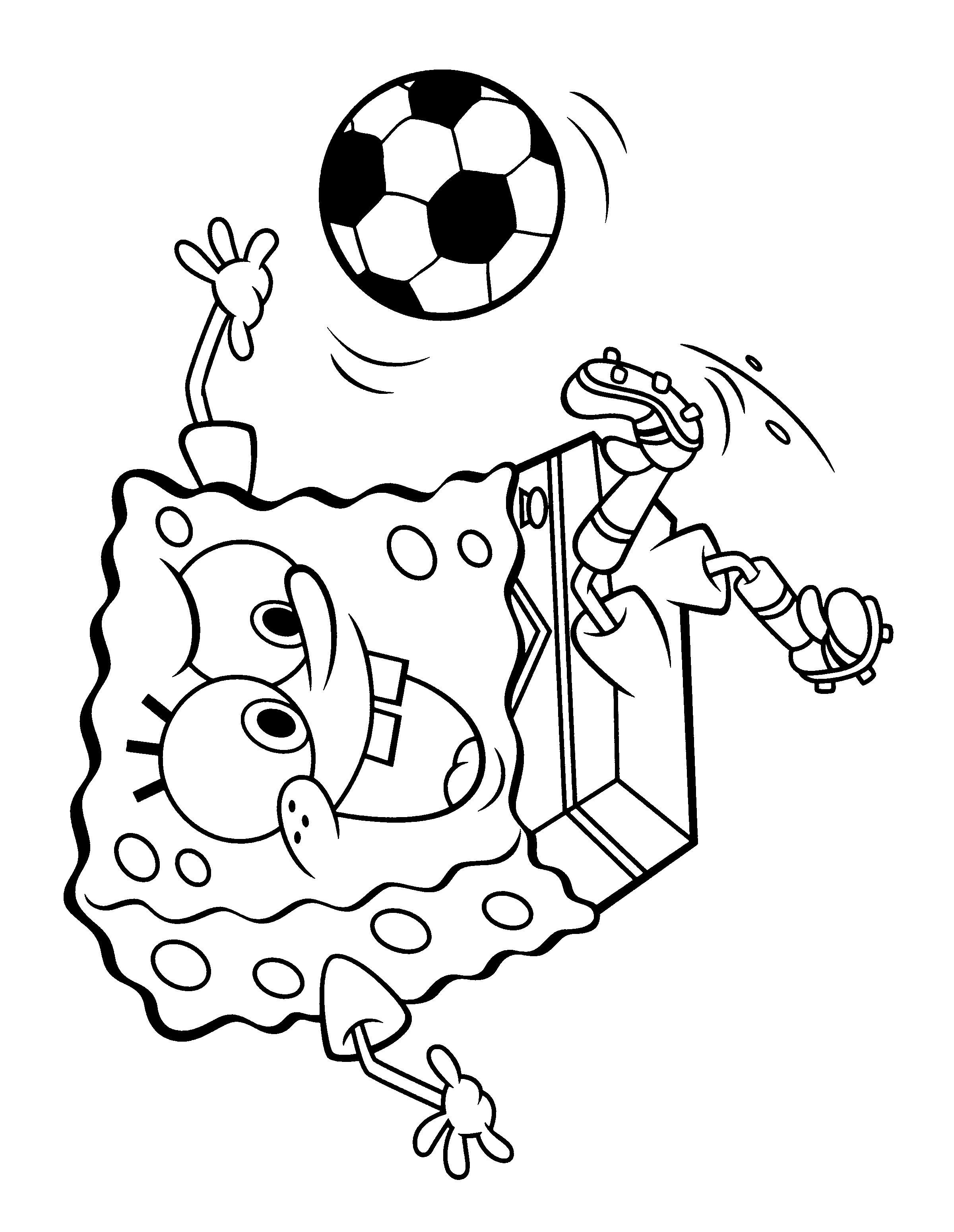 Спанч боб футболист Распечатать раскраски для мальчиков
