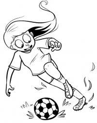 Девочка футболист с мячом Распечатать раскраски для мальчиков