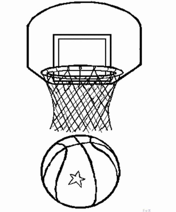 Баскетбольный щит и мяч Раскрашивать раскраски для мальчиков