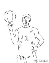 Баскетболист крутит мяч на пальце Раскрашивать раскраски для мальчиков