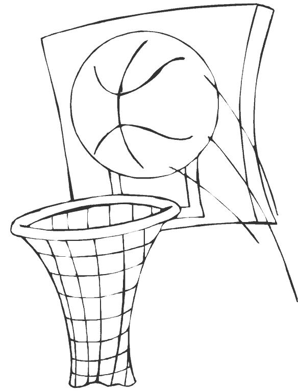 Баскетбольный мяч летит в кольцо Раскрашивать раскраски для мальчиков