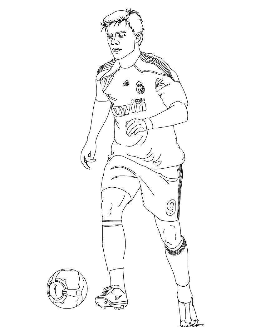 Футболист реал мадрида Распечатать раскраски для мальчиков