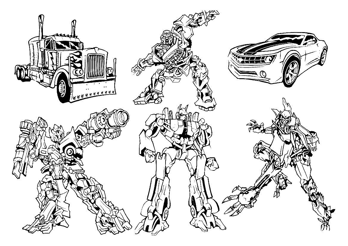 Трансформеры и их машины Раскрашивать раскраски для мальчиков