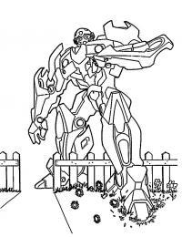 Трансформер перешагивает через забор Раскрашивать раскраски для мальчиков