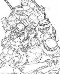 Черепашки ниндзя в бою Раскрашивать раскраски для мальчиков