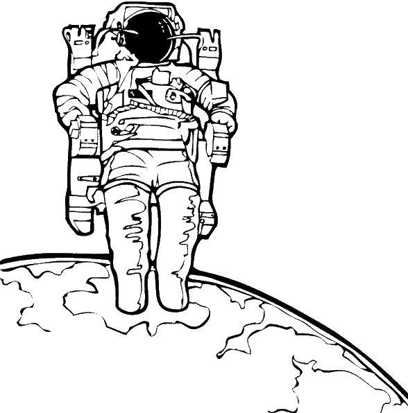 Космонавт на планете Раскрашивать раскраски для мальчиков