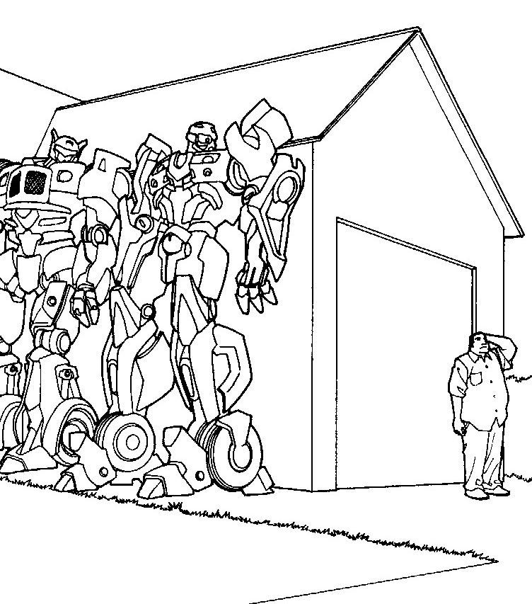 Трансформеры спрятались за углом Раскраски для мальчиков
