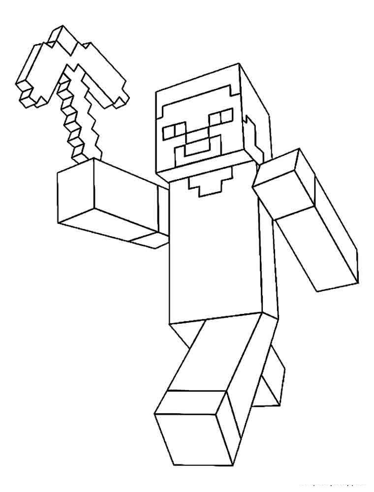 Майнкрафт с топороиком Скачать раскраски для мальчиков