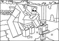 Майнкрафт большой и маленький робот Скачать раскраски для мальчиков