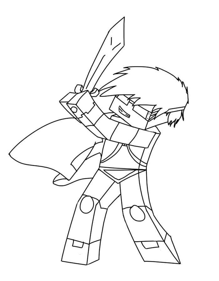 Майнкрафт герой с мечом Скачать раскраски для мальчиков
