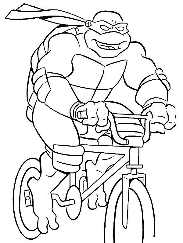 Черепашки ниндзя на велосипеде Раскраски для детей мальчиков