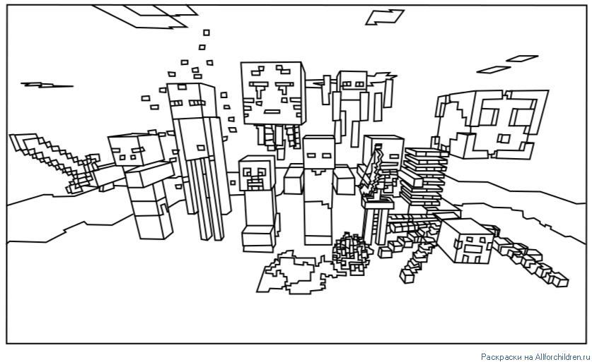 Майнкрафт разные персонажи Распечатать раскраски для мальчиков