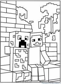 Майнкрафт роботы сидят на лавочке Скачать раскраски для мальчиков