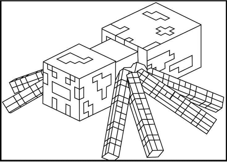 Майнкрафт тарантул Скачать раскраски для мальчиков