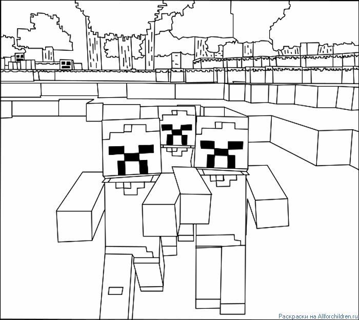 Майнкрафт  три зомби Скачать раскраски для мальчиков