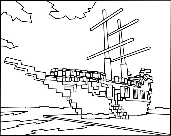 Майнкрафт корабль майнкрафт раскраска океан Распечатать ...