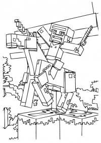 Майнкрафт рыцарь на лошади Скачать раскраски для мальчиков