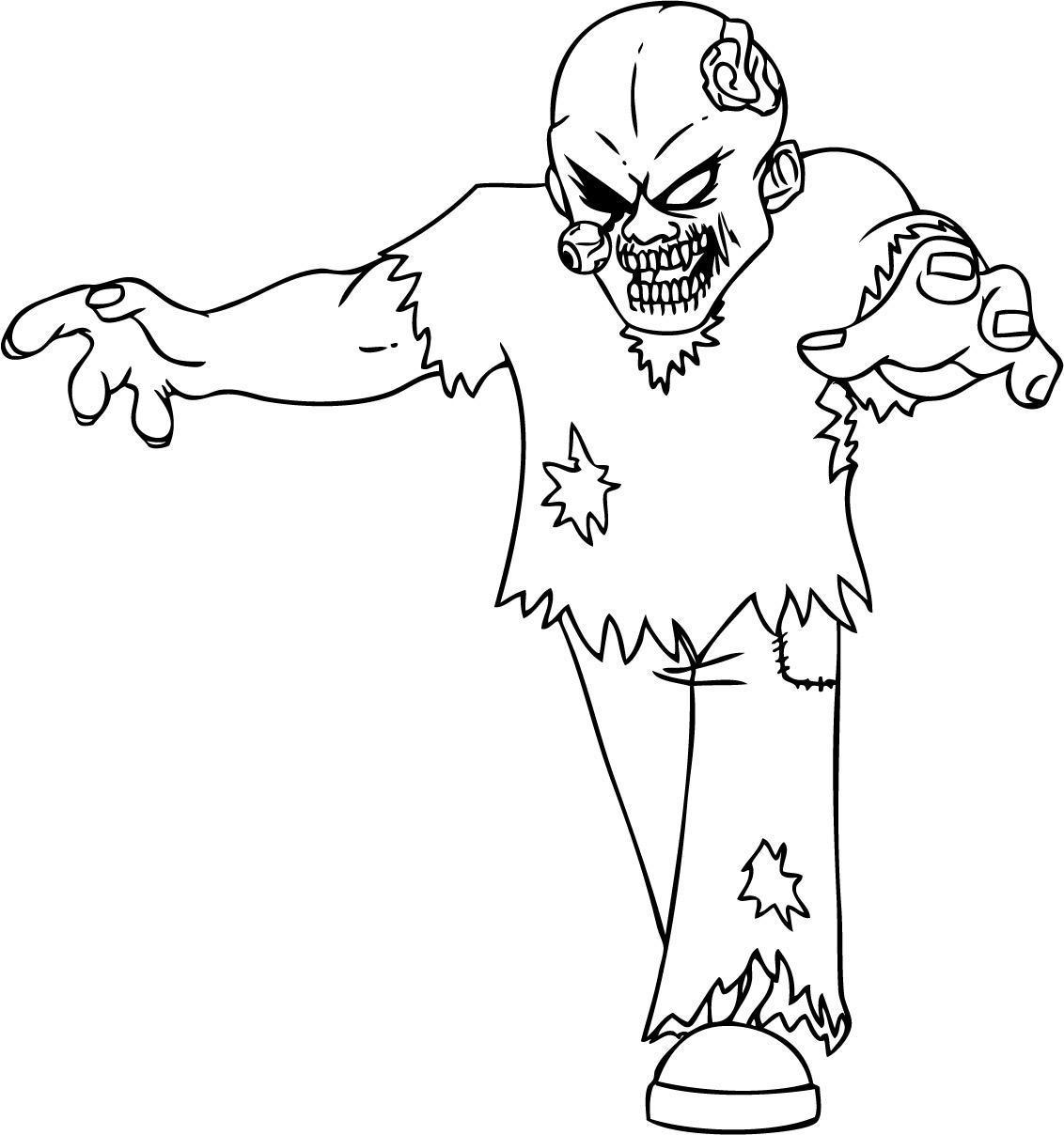 Зомби без глаза Распечатать раскраски для мальчиков
