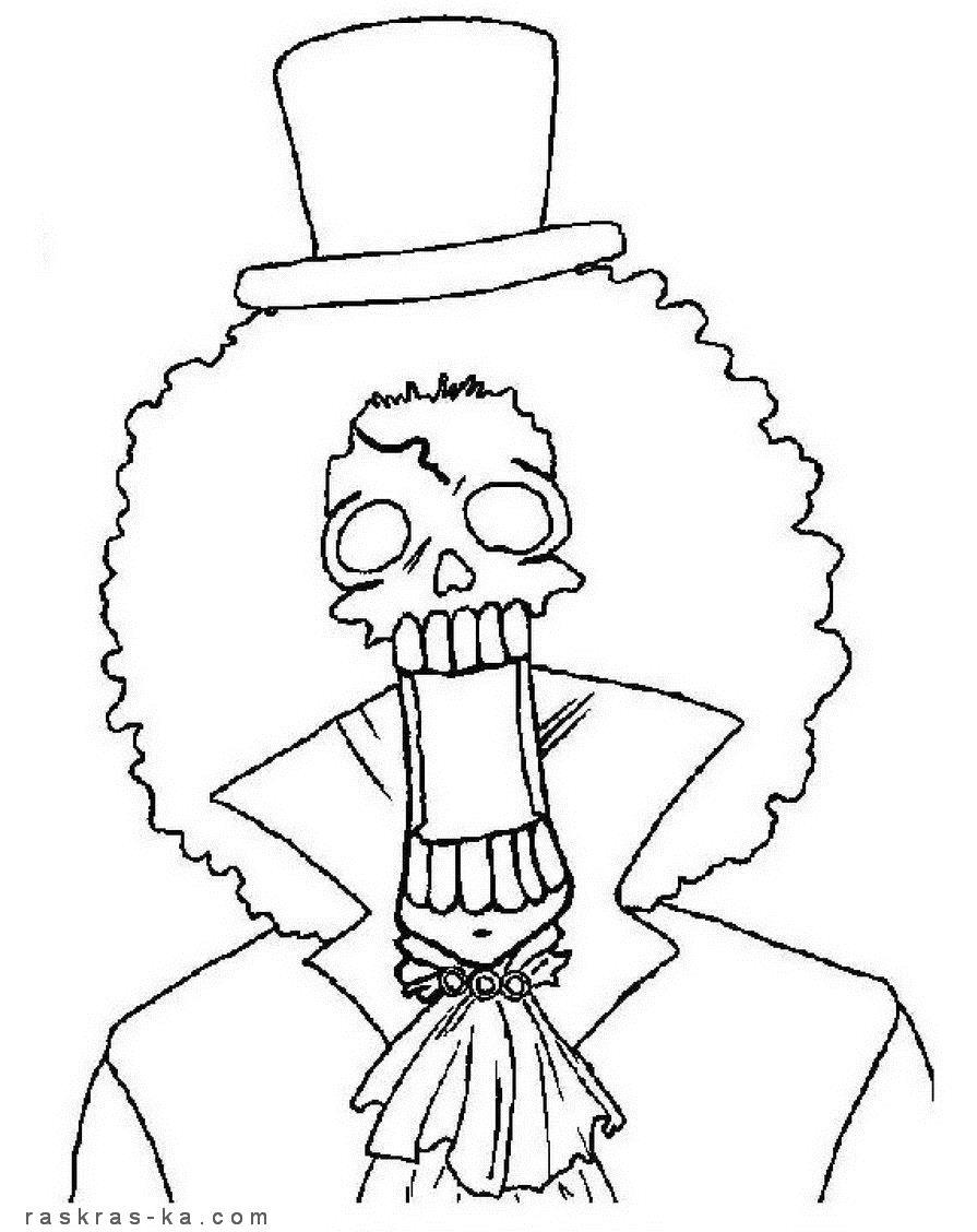Зомби в шляпе Распечатать раскраски для мальчиков