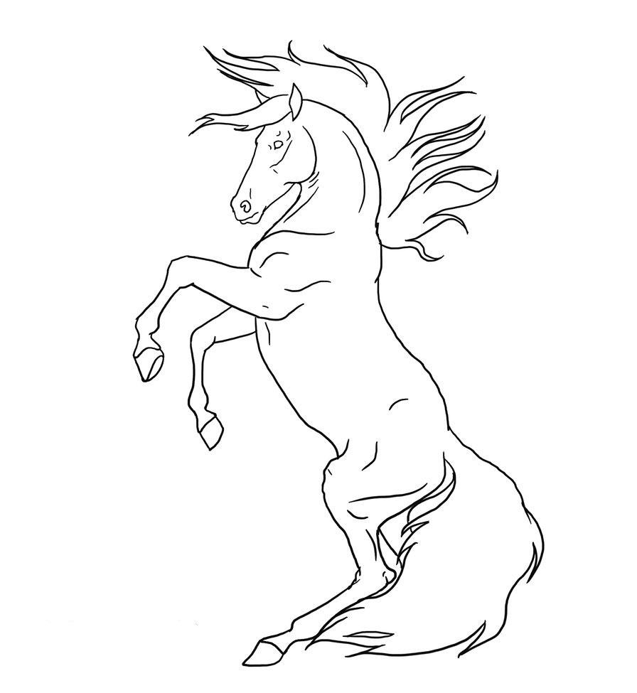 Конь встал на дыбы Раскрашивать раскраски для мальчиков