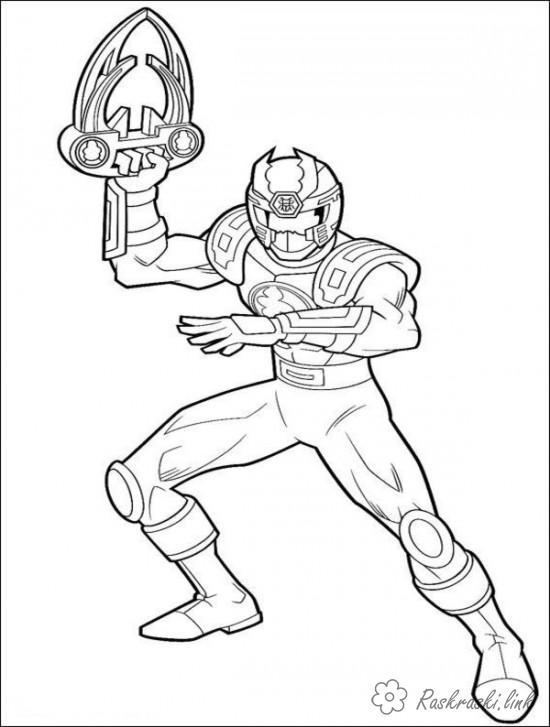 Самурай рейнджер с оружием Раскрашивать раскраски для мальчиков